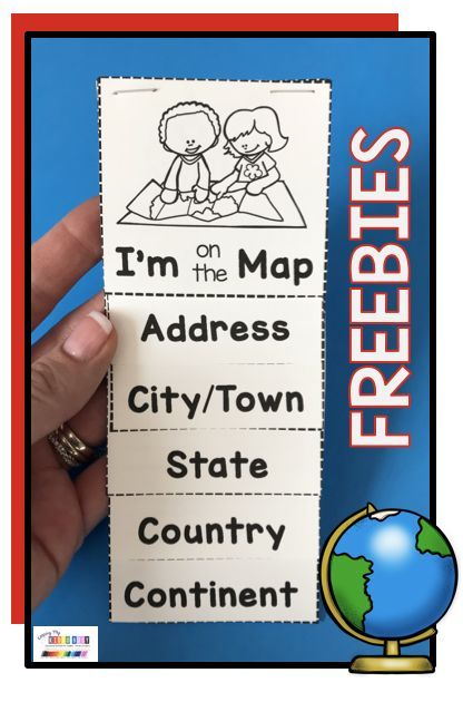 Kindergarten and first grade map flip chart - adorable flip book to show where we live - what city or town - state - country and continent - all about planet earth - how to read maps and globes - so m Preschool Social Studies, Social Studies Projects, 3rd Grade Social Studies, Social Studies Worksheets, Social Studies Classroom, First Grade Activities, Free Activities, First Grade Projects, First Grade Science