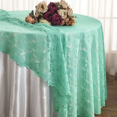 132 Round Satin Rosette Tablecloths Tiffany Blue Aqua 1pc Pk