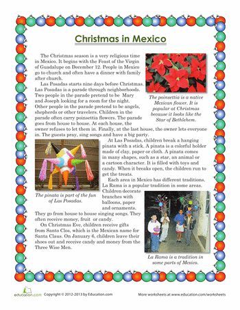 Worksheets: Christmas in Mexico