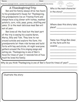 THANKSGIVING READING COMPREHENSION - free
