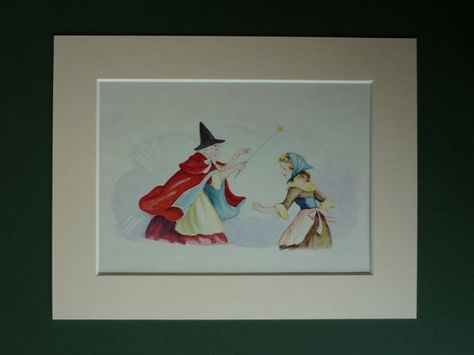 1950s Vintage Cinderella Print Fairy Godmother Vintage