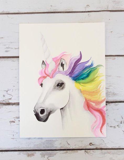 Rainbow Unicorn Print Watercolor Painting