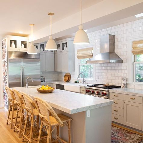 Sunwashed Riviera Counter Stool, long skinny island with stools facing the window and sink Long Narrow Kitchen, Narrow Kitchen Island, Kitchen Layouts With Island, Long Kitchen, Kitchen Island With Seating, New Kitchen, Kitchen Decor, Kitchen Islands, Stove In Island Kitchen