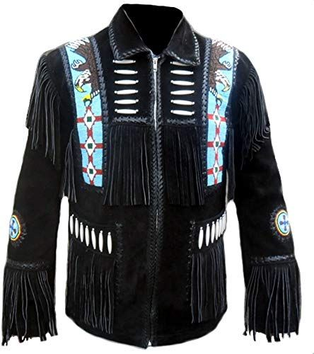 SRHides Mens Western Cowboy Fringed Suede Leather Jacket