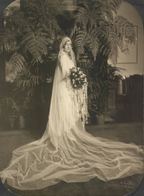 "Photo of a bride in her wedding dress, 11 September 1929. Credit: Infrogmation; Wikimedia Commons. Read more on the GenealogyBank blog: ""Wedding Belles! How to Find Your Ancestors' Marriage Records."" http://blog.genealogybank.com/wedding-belles-how-to-find-your-ancestors-marriage-records.html"