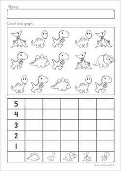 Dinosaur Preschool Math and Literacy No Prep worksheets and activities. A page from the unit: count and graph