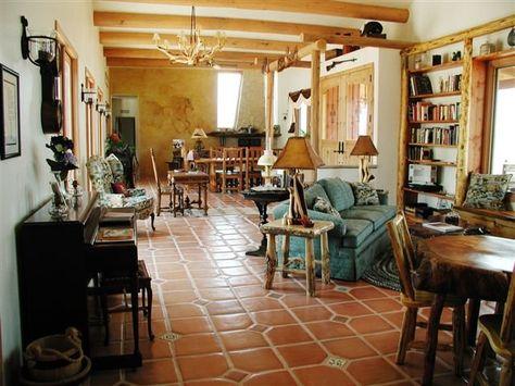 mexican tile floor; lots of wood