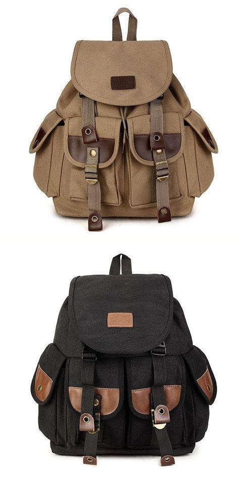 Vintage Men 8217 S Backpack Canvas Pu Hiking Travel