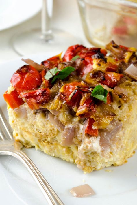 Goat Cheese Strata with Peppers  Red Wine