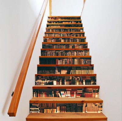 Vintage 3D Stairs Decal Simulation Bookcase Scene Staircase Sticker Decor FI