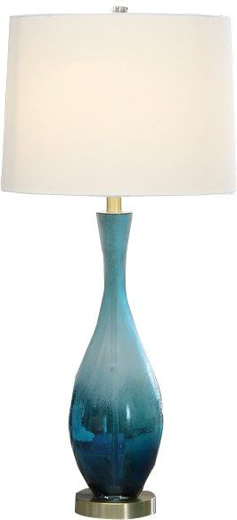 This Glass Table Lamp Comes In A Blue Ombre Finish With A White Faux Silk Shade Blue Table Lamp Blue Lamp Lamps Living Room