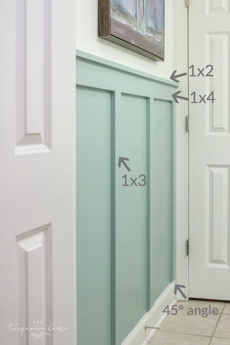 DIY Board and Batten Tutorial with board sizes! Bathroom Decor DIY Board and Batten in the Girls' Bathroom Home Design, Design Design, Young House Love, Board And Batten, Suites, Diy Home Improvement, My New Room, Home Interior, Interior Window Trim