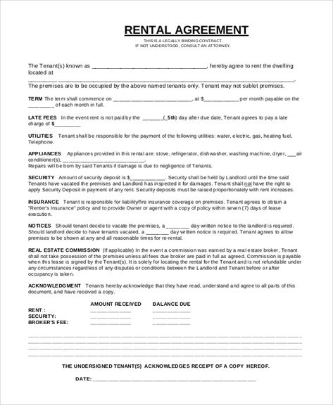 Basic Rental Agreement Or Residential Lease Contract Template