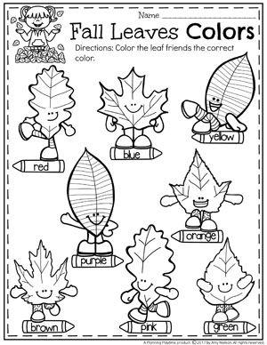Fall Leaves Colors Worksheets for Preschool and other Fall Preschool Worksheets. Color Worksheets For Preschool, Preschool Learning Activities, Homeschool Kindergarten, Preschool Lessons, Preschool At Home, Preschool Classroom, Autumn Activities, Preschool Crafts, Math Worksheets
