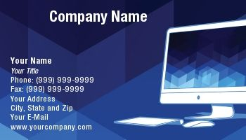 Blue Business Card With Abstract Background Modern Computer Keyboard And Mouse For Computer Consultants Programme Blue Business Card Computer Company Names