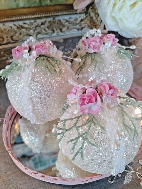 They are decorated with delicate pink roses,sparkling white glitter, dainty pearls, bridal trim and feature a pearl hanger. They are non breakable and shatter resistant. | eBay!