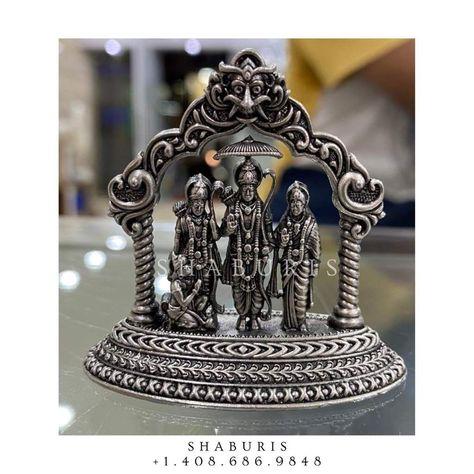 Pure Silver raam Parivar idol,raam parivar silver,Indian Pooja Articles,silver articles indian,pooja samagri,Antique silver article,God idol