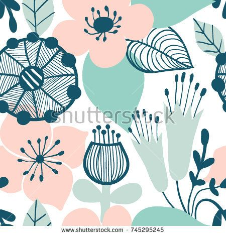Abstract Flower Graphic Design Trendy Creative Seamless Pattern