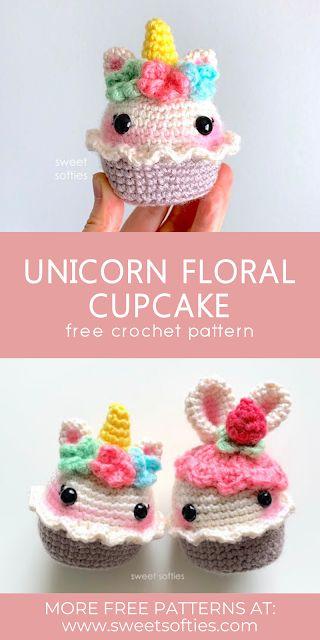 Crochet Unicorn Pattern, Crochet Patterns Amigurumi, Crochet Dolls, Crochet Cupcake, Crochet Food, Kawaii Crochet, Cute Crochet, Floral Cupcakes, Softie Pattern