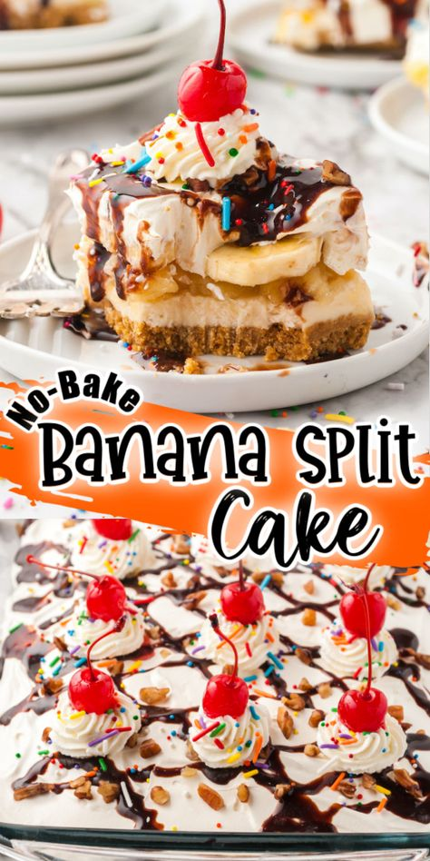 No-Bake Banana Split Cake turns your favorite ice cream dish into a delicious dessert! Layers of bananas, crushed pineapple, a graham cracker crust and topped with whipped cream and drizzled with chocolate! Of course, you cannot forget the maraschino cherry on top!
