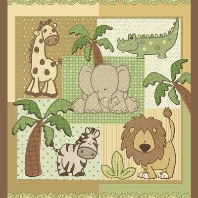 monkey Elephant Crocodile NURSERY JUNGLE 1 2 3 Quilt Top Panel Cotton Fabric