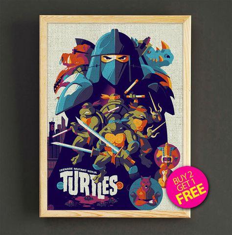 Teenage Mutant Ninja Turtles Watercolor Art Print TMNT by Star2Go
