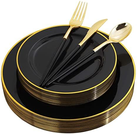 Wellife 120 Pcs Black Plastic Plates With Gold Rim Gold Disposable Cutlery With Black Handle Blac Plastic Dinnerware Black Plastic Plates Gold Plastic Plates