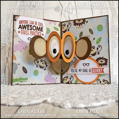 Painted Mountain Cards Pop Up Monkey Card Cards Fathers Day Crafts Pop Up Frame