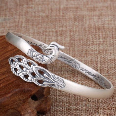 Unique Design Silver Peacock Adjustable National Handmade Animal Bracelet