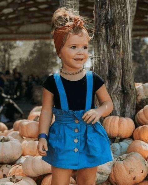 Presley Denim Suspender Skirt - Dark Wash - 2T