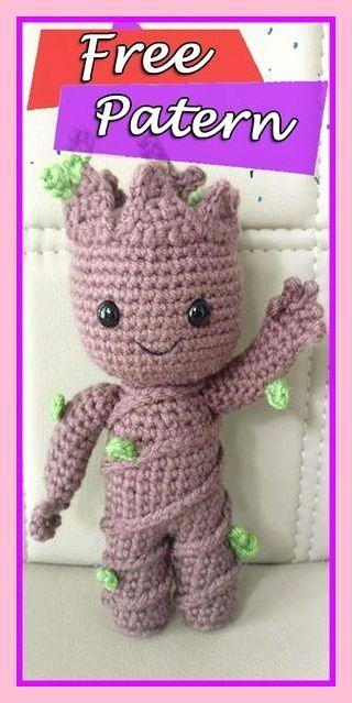 Baby Groot - Amigurumi no Elo7 | Newborn Art Crochê (F5EAFF) | 639x320