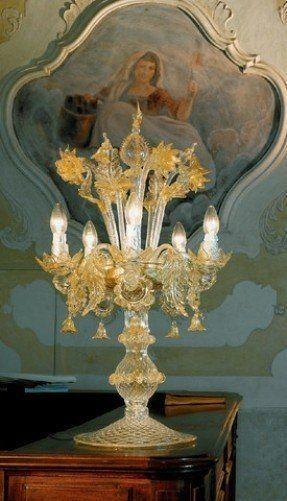 Glass murano table lamp 13   Art glass table lamp, Blue