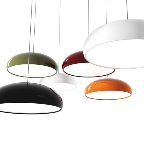 Pangen (lighting): Suspension lamp. Moulded dome in painted aluminium with white inside. Diffuser in satin finish polycarbonate. Chrome-plated canopy. designer: Historical Archive | year: 2012) - More @ www.fontanaarte.com #fontanaarte #light #lamp