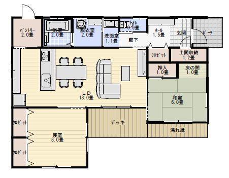 25坪2ldk夫婦2人で住むl字型の小さな平屋の住宅の間取り図 平屋間取り 間取り 住宅 間取り 東玄関 間取り
