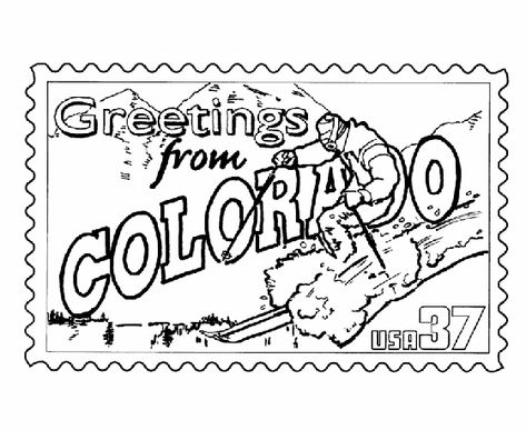 Colorado State Stamp Coloring Page Coloring Pages Colorado Map Art