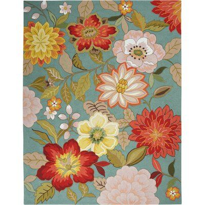 Andover Mills Modoc Floral Handmade Hooked Aqua Blue Green Red Area Rug Polyester In Red Blue Green Size Rectangle Floral Area Rugs Flower Rug Aqua Area Rug