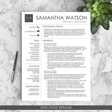 Professional Resume Template \/ CV Template \/ Mac or PC for Word - best one page resume template