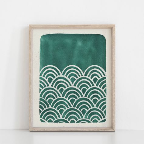 Scallop Waves Wall Art Print - Teal Blue Green - 24x30