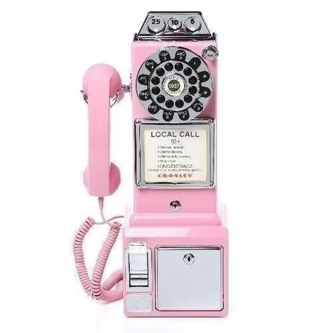 Vintage Wall Pay Phone Pink Retro Coin Telephone Rotary Dial Modern Replica Vtg Vintage Phones Pay Phone Phone