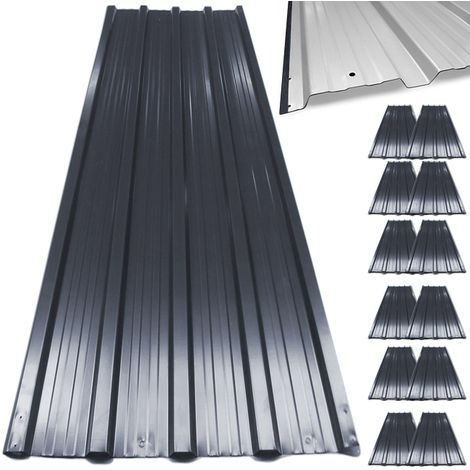 12 X Aluminum Roof Sheets Green Or Anthracite Galvanized Roofing Cladding Panels Corrugated Trapezodial 7 M Toit En Metal