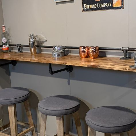 """Industrial Black Pipe Drink/Bar Rail with 3 Shelf Support Brackets """"DIY"""" Parts Kit - Use Your Own Wood Top -Sale Ending Soon! Shelf Support Brackets, Shelf Supports, Bar Table Diy, Pipe Table, Home Depot, Kitchen Industrial Design, Modern Industrial, Vintage Industrial, Black Pipe Shelving"""