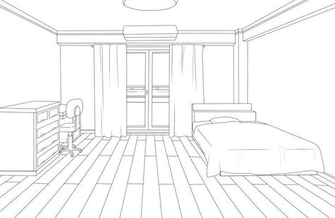 Room Perspective Drawing, One Point Perspective, Room Sketch, Interior Design Sketches, Anime Poses Reference, Drawing Base, Dorm Rooms, Designs To Draw, Illustration