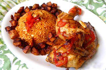 """... Dish - Jollof Rice, Plantain, Seasoned Chicken. """"The best dish on the"""