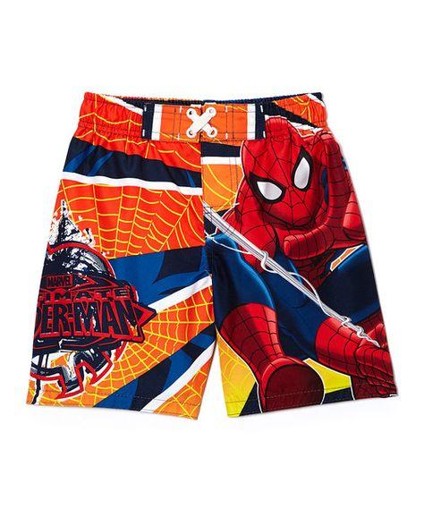Boys Marvel Spiderman Swimwear Swimming Swim Shorts NWT Blue red 3T 4T 5
