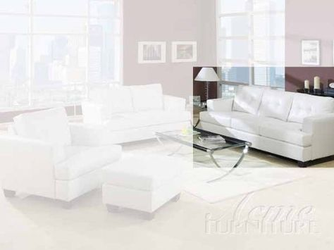 Incredible Acme 15095 Bonded Leather Sofa White Button Tufted Wood Pdpeps Interior Chair Design Pdpepsorg