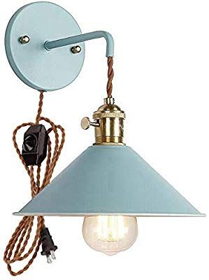 Amazon Com Plug In Dimmable Wall Sconce Lamps Lighting Fixture Within Line Cord Dimmer Switch Green Macaron Wall Lamp E26 Edison Sconce Lamp Copper Lamps Lamp