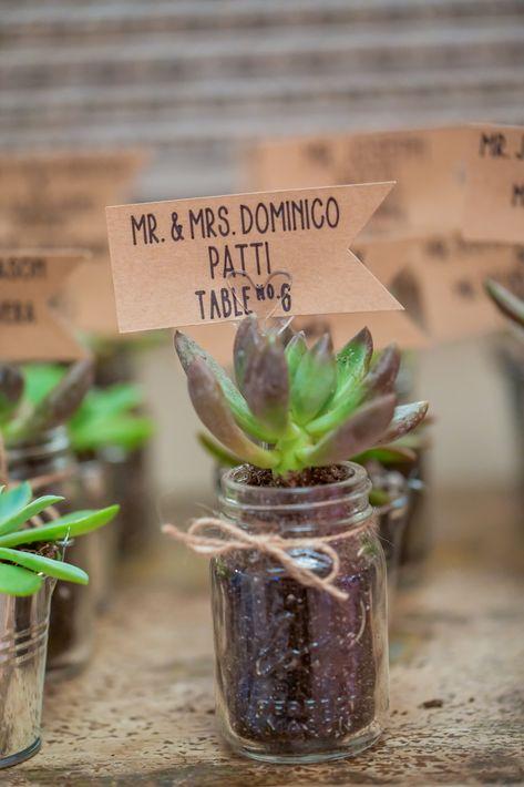 Mini succulent escort cards for a wedding | Photo: Anthony Ziccardi Studios