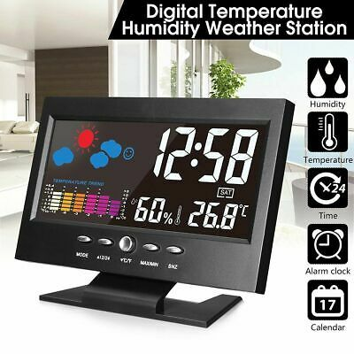 PROJECTION DIGITAL ALARM CLOCK WEATHER THERMOMETER LCD COLOR
