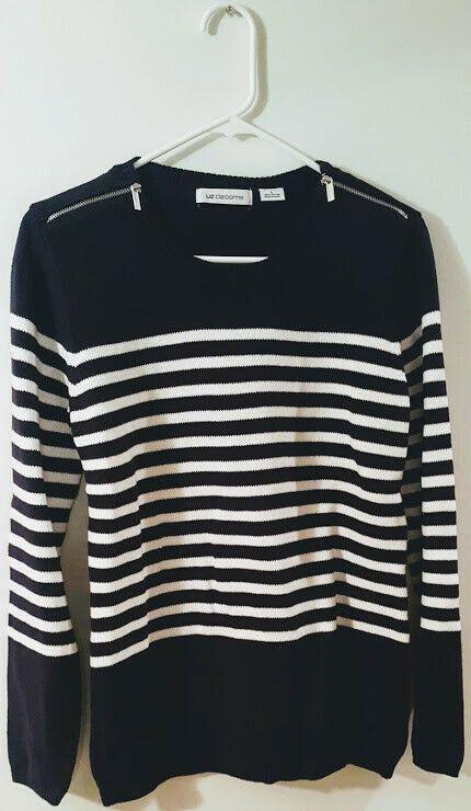 Women's Navy & White Liz Claiborne Stripe Sweater (Size L