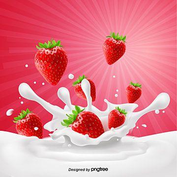 Fresh Strawberry Milk Advertising Background Strawberry Milk Strawberry Png Strawberry